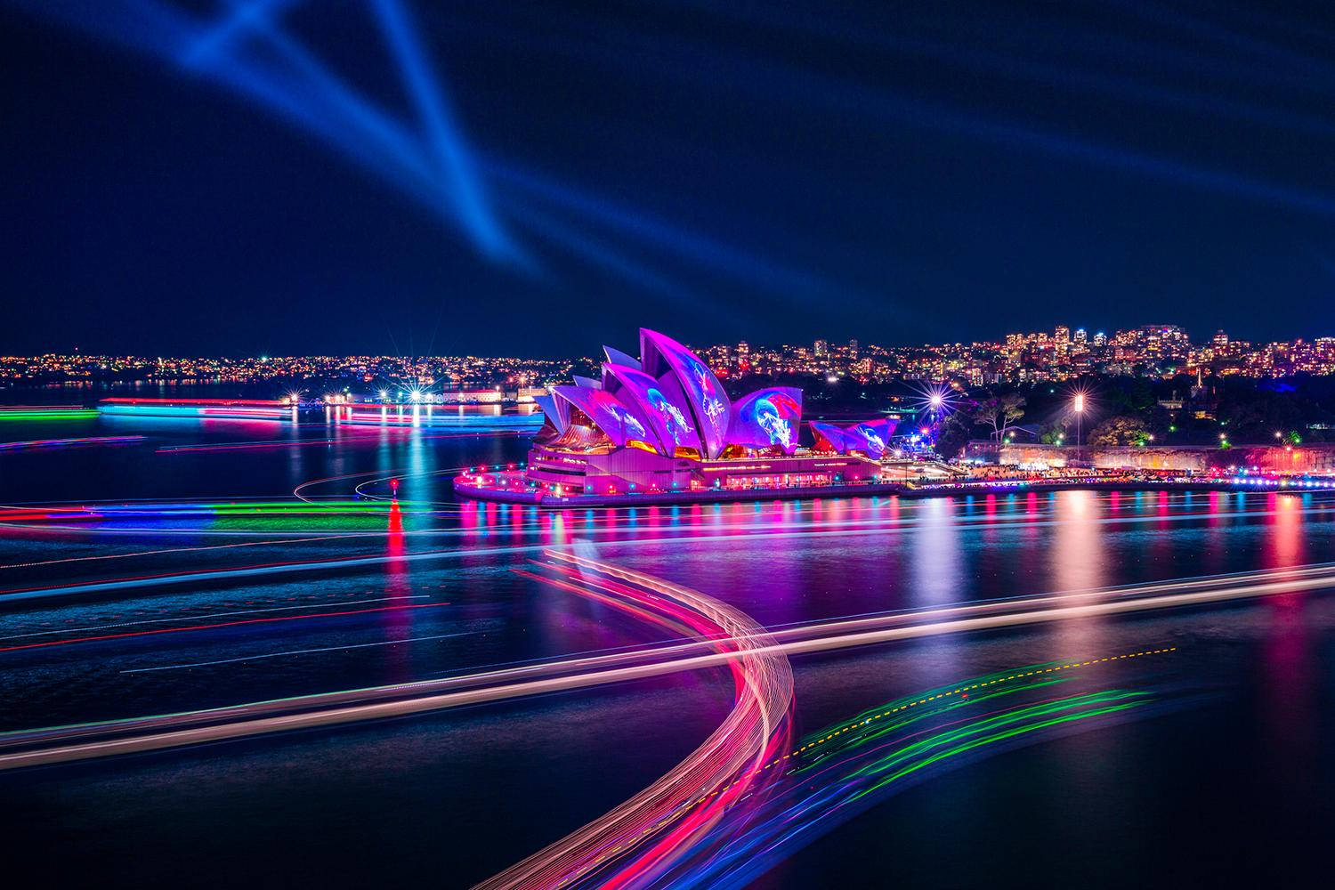 The Sydney Opera House illuminated by the Austral Flora Ballet light projection during Vivid Sydney 2019