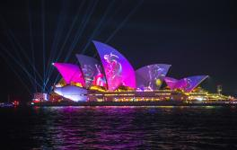 The Austral Flora Ballet light projection on the Sydney Opera House during Vivid Sydney 2019